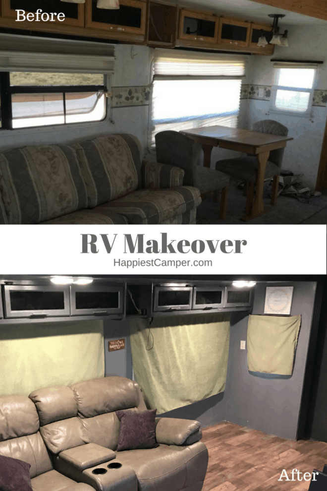 RV Makeover Before After Living Room