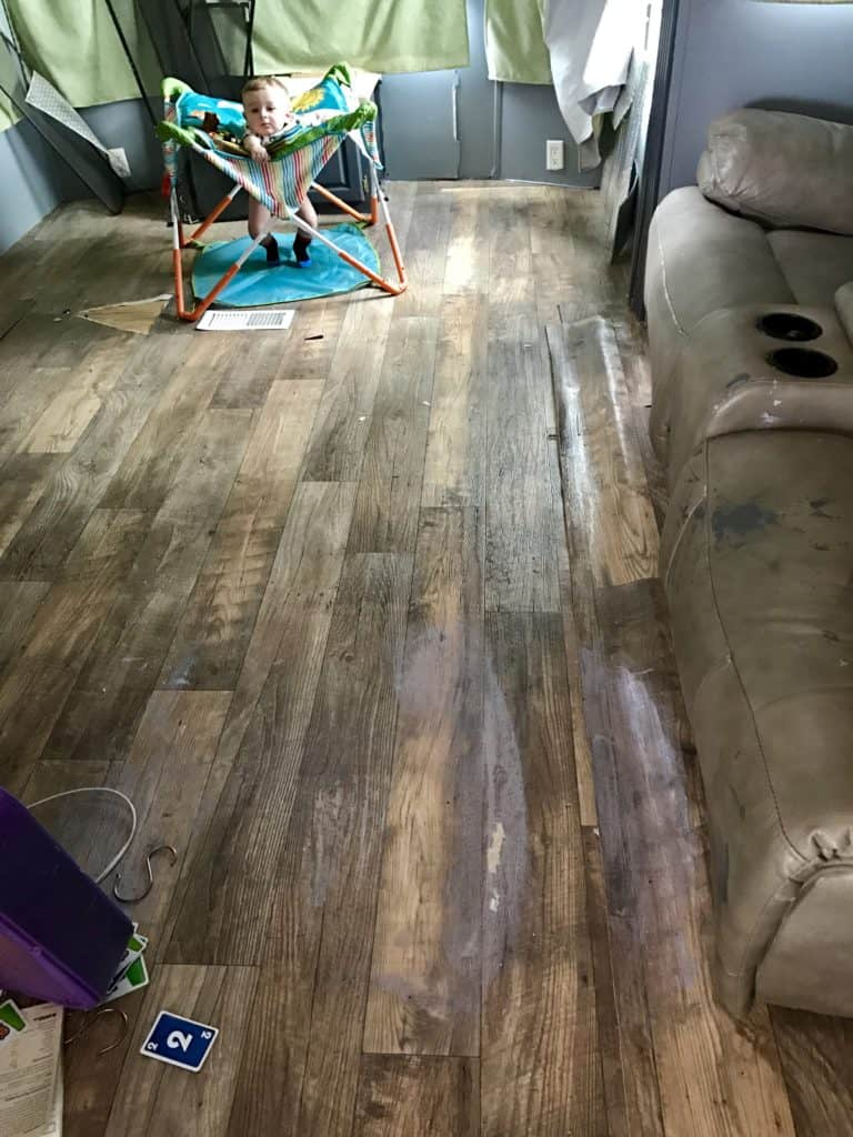 Totaled RV Floor Damage
