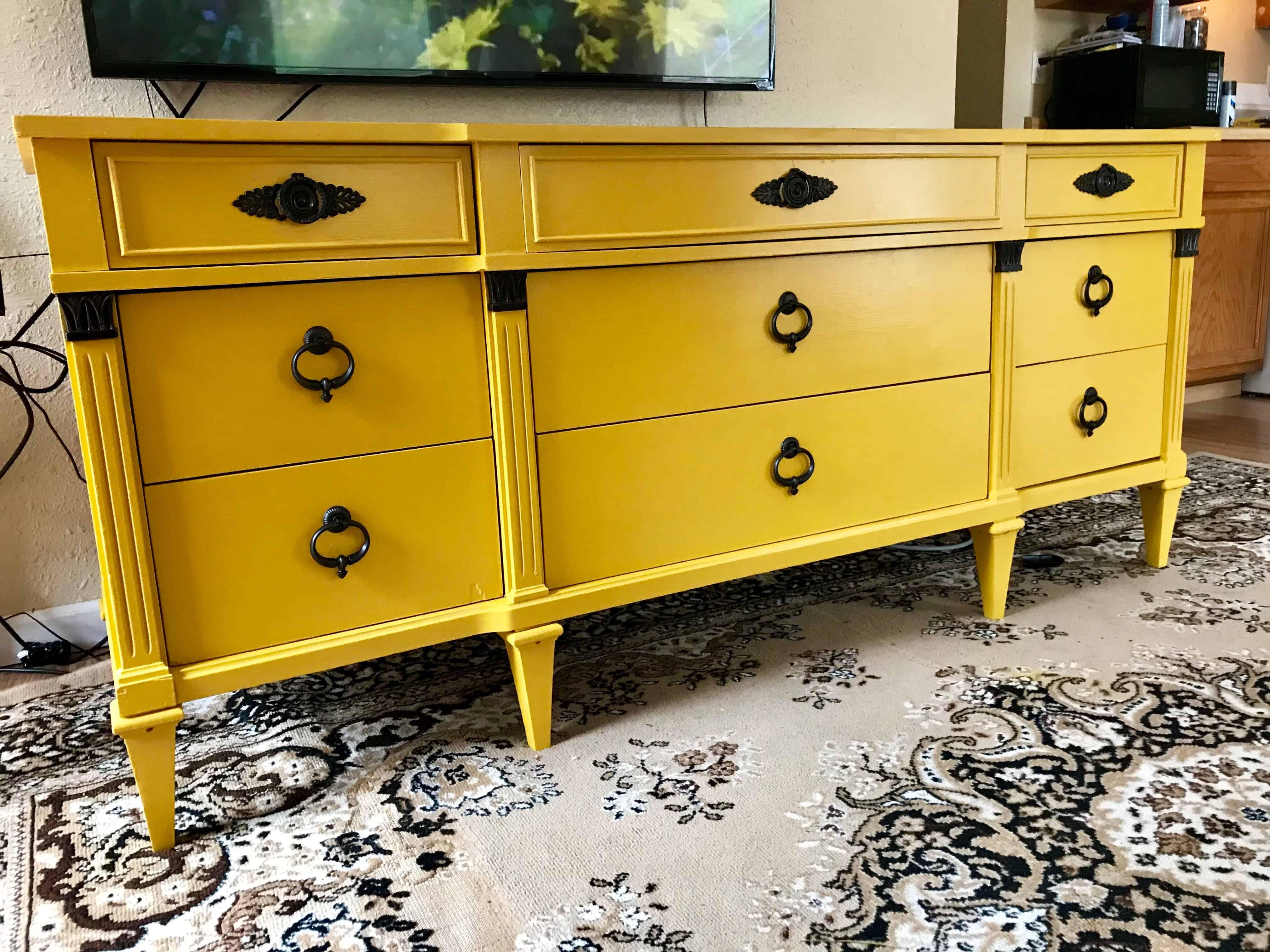 Mustard Yellow Dresser Makeover