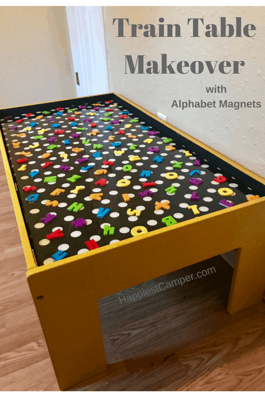 Train Table Makeover with Alphabet Magnets
