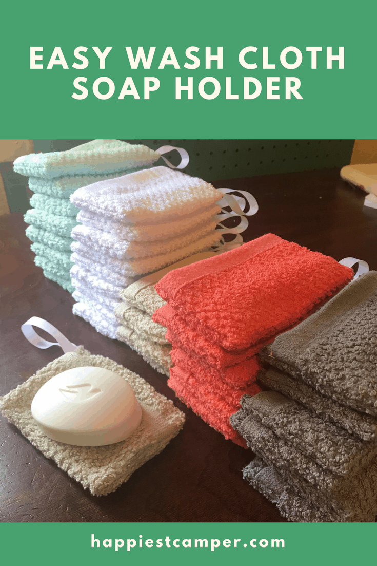Make a wash cloth soap holder in 5 minutes! This easy sewing project will make your soap easier to hold and use until the very end.