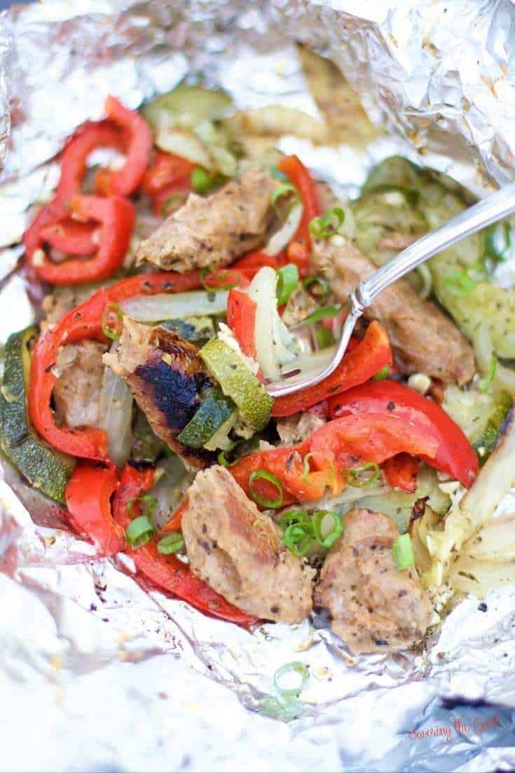 Grilled Turkey Sausage & Vegetable Foil Packets | Camping Favorite