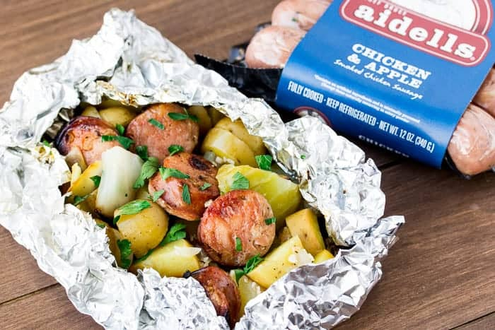 Grilled Sausage Foil Packets with Cabbage & Potatoes
