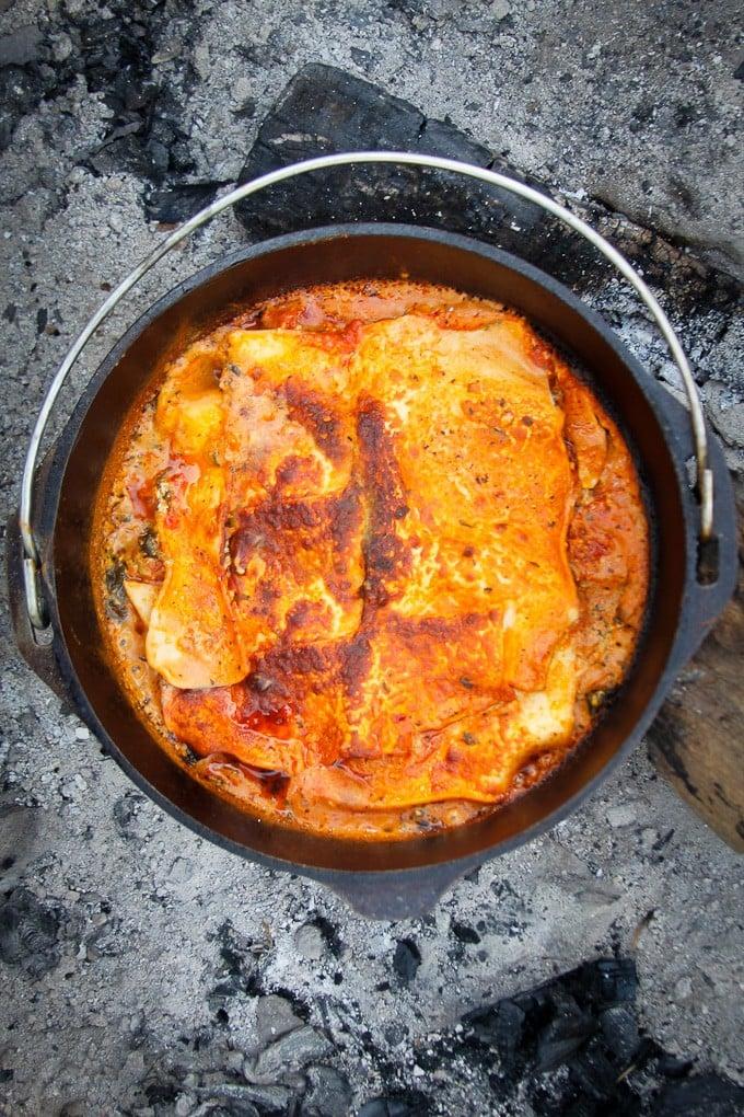 Campfire Dutch Oven Recipe: Vegetarian Lasagna
