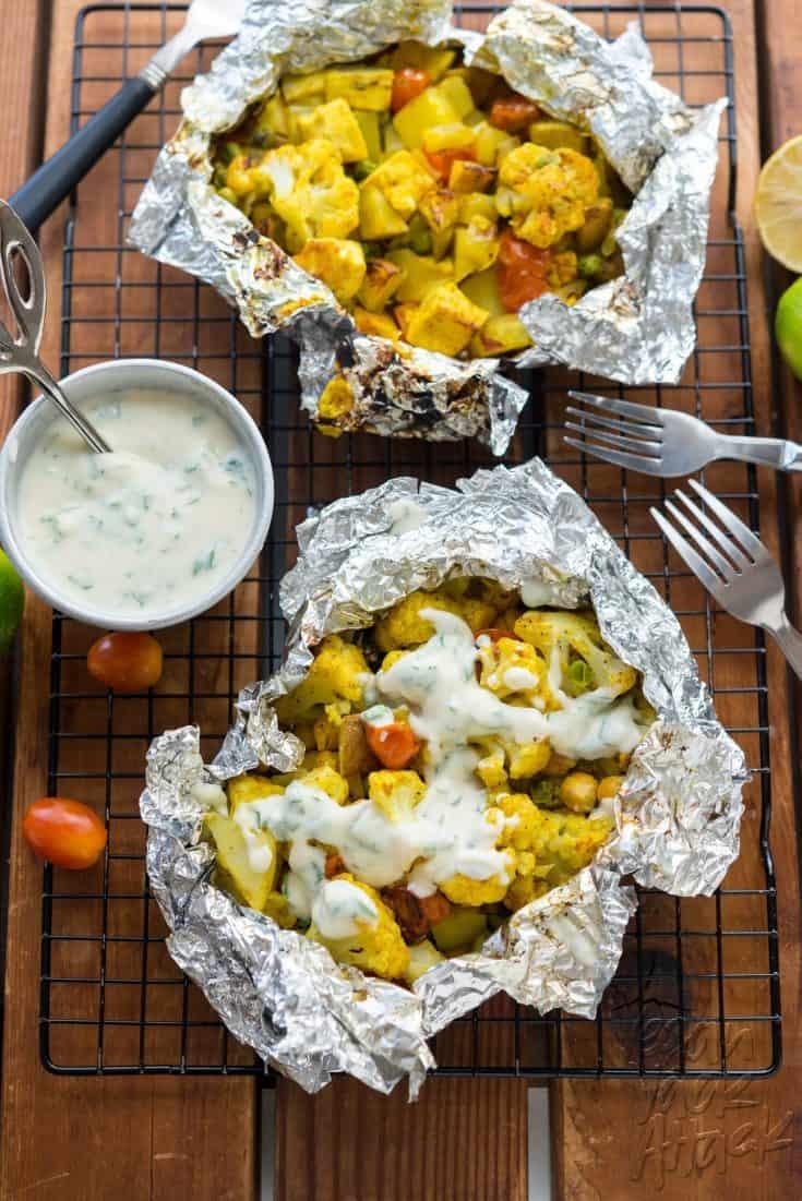 Curry Cauliflower Grill Packets with Yogurt Sauce – Vegan Yack Attack