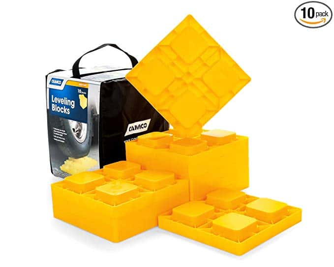 Camco Heavy Duty Leveling Blocks, Ideal For Leveling Single and Dual Wheels, Hydraulic Jacks, Tongue Jacks and Tandem Axles (10 pack) (44505) - Yellow