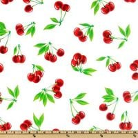 OilCloth International DH-318 Stella Cherries Fabric by The Yard, White