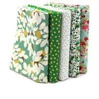 "RayLineDo 5X Different Pattern Green 100% Cotton Poplin Fabric Fat Quarter Bundle 46 x 56cm (Appox 18"" x 22"") Patchwork Quilting Fabric"
