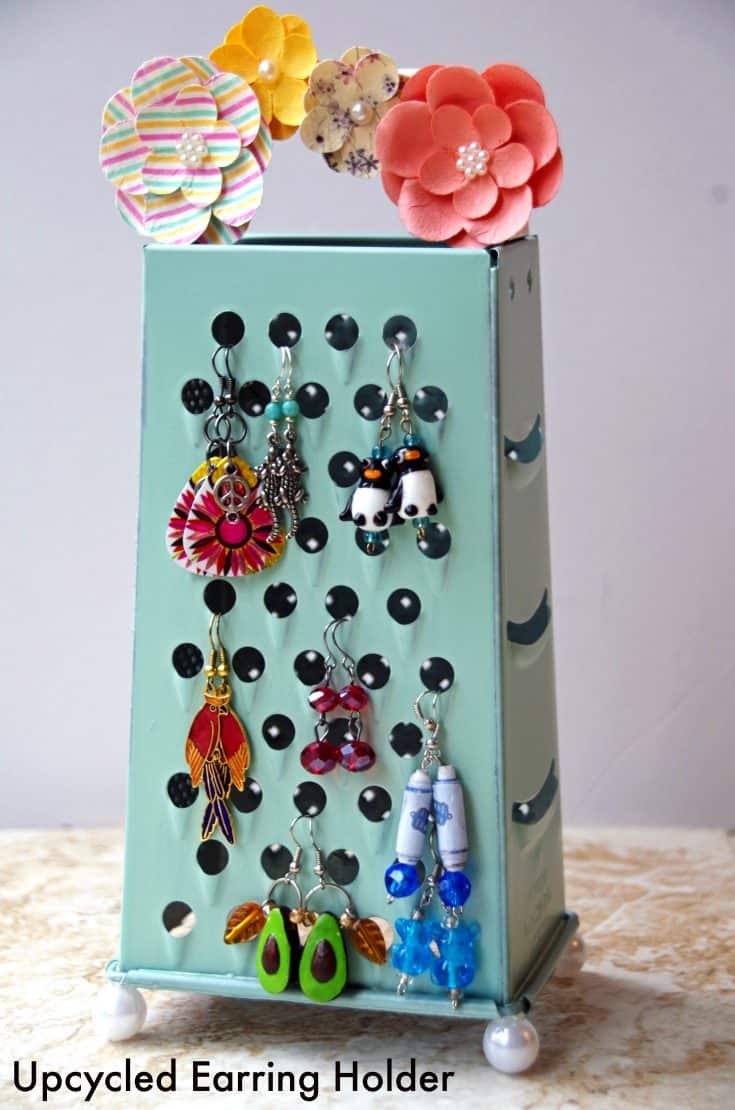Easy Homemade Earring Holder from an Upcycled Cheese Grater!