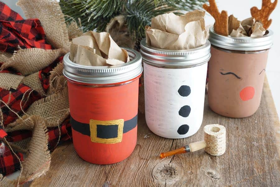 Painted Mason Jars for Christmas Completed