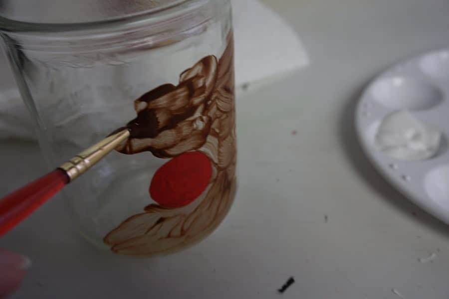 Painting Rudolph Mason Jar