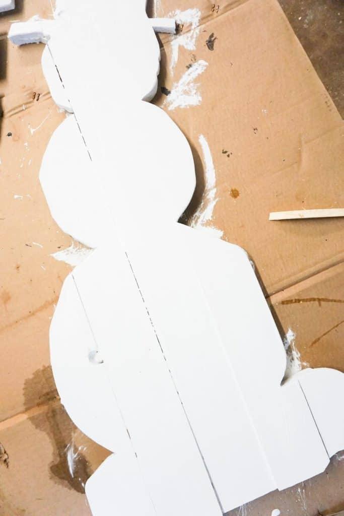 White Paint Wood Snowman
