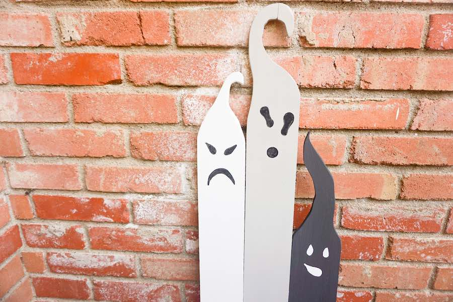 Completed Wooden Halloween Ghosts