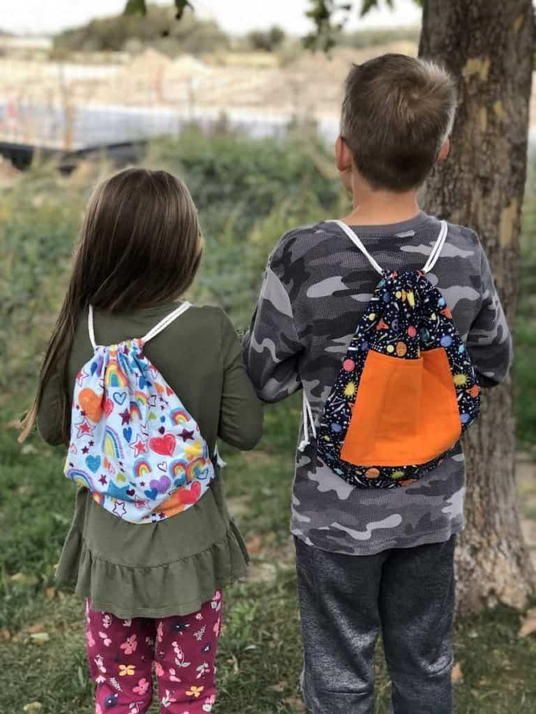Boy and Girl DIY Drawstring Backpack with Pocket