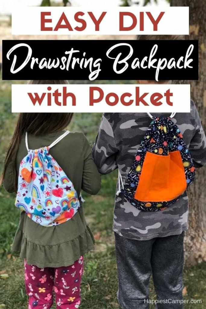 Easy DIY Drawstring Backpack with Pocket