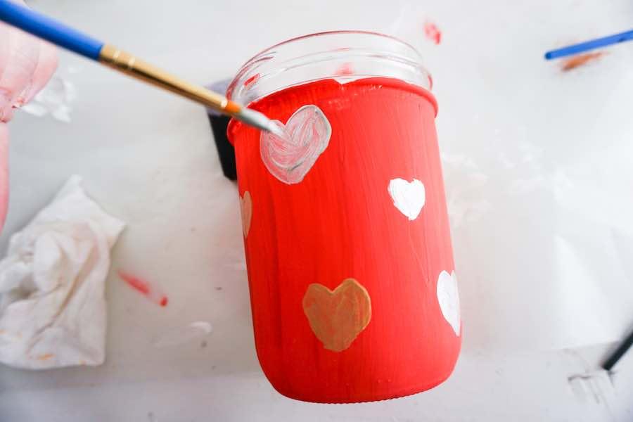 Hearts Painted on Jar