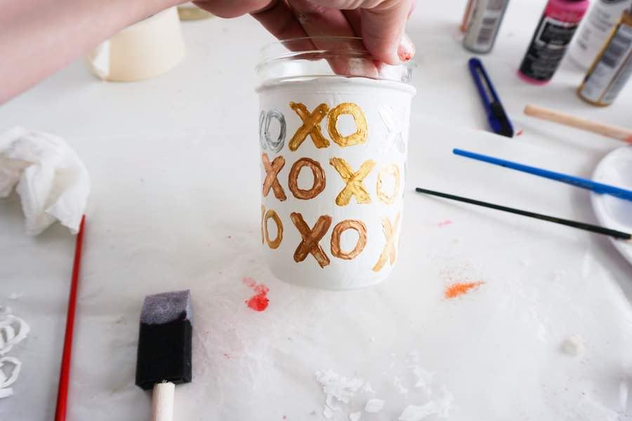 xo painted Mason Jar