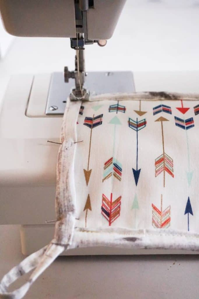 Final stitching on how to sew a potholder