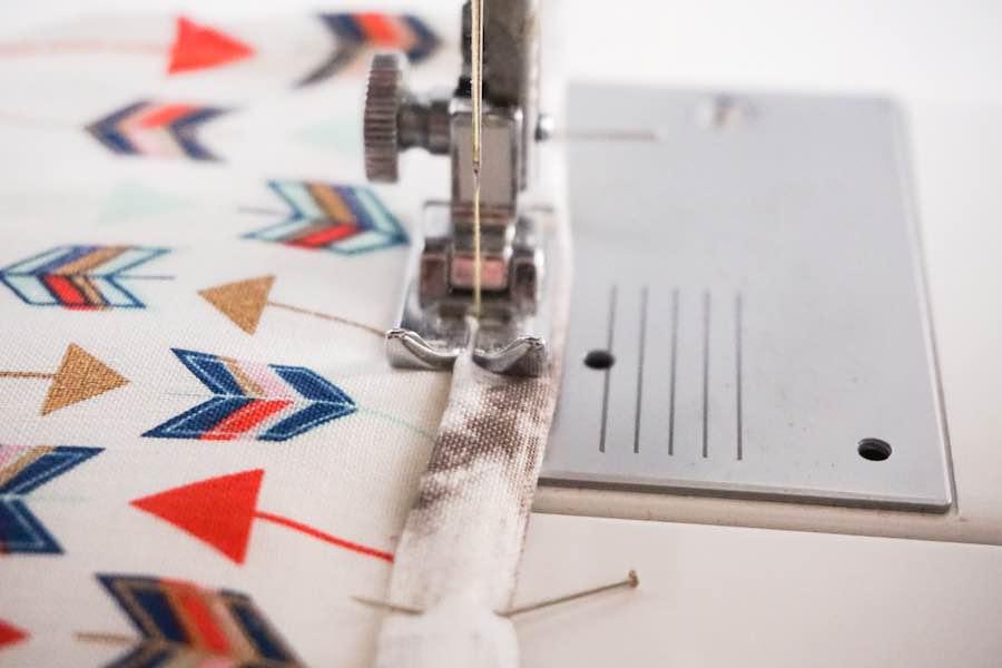 Sewing hem of binding on both sides potholder