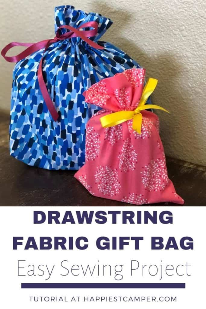 Drawstring Fabric Gift Bag Easy Sewing Project