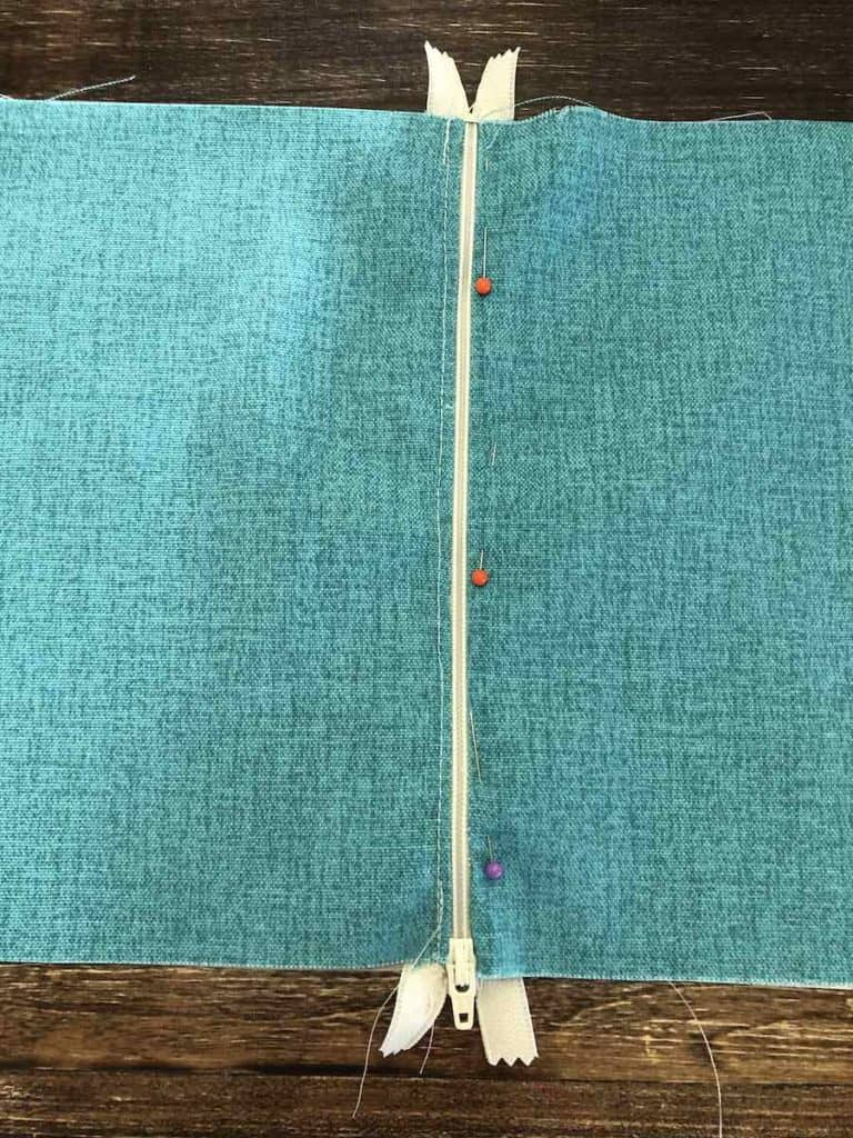 17 Turn your fabric and pin along zipper