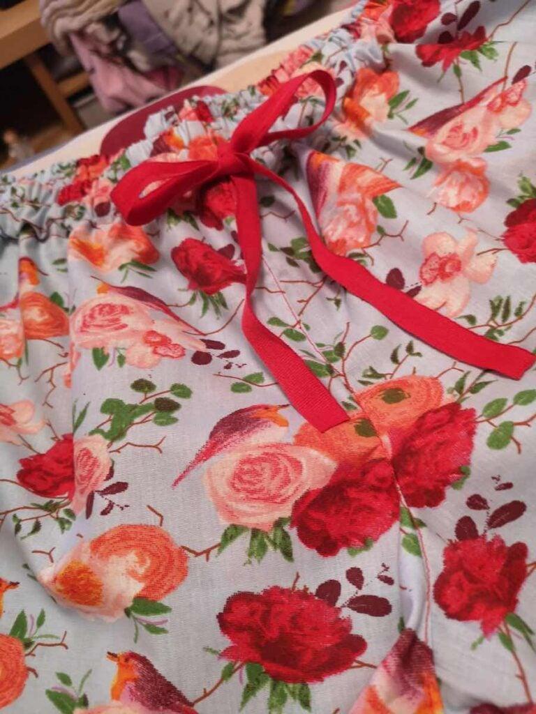 ribbon on women's sleep shorts
