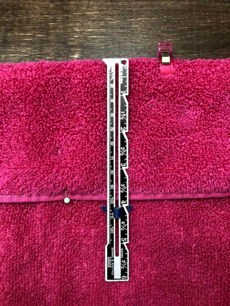 measuring hem for kid's hooded towel