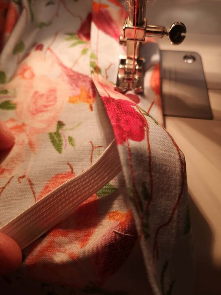 Sew the elastic inside a  shorts fold