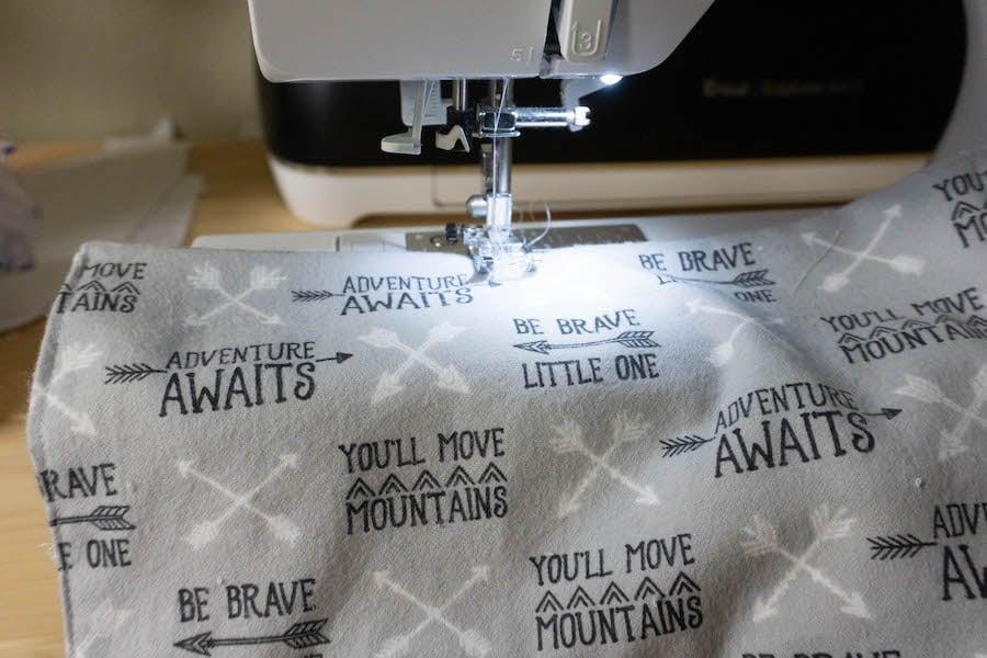 sewing edge of burp cloth