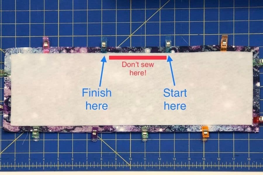 graphic showing where to sew