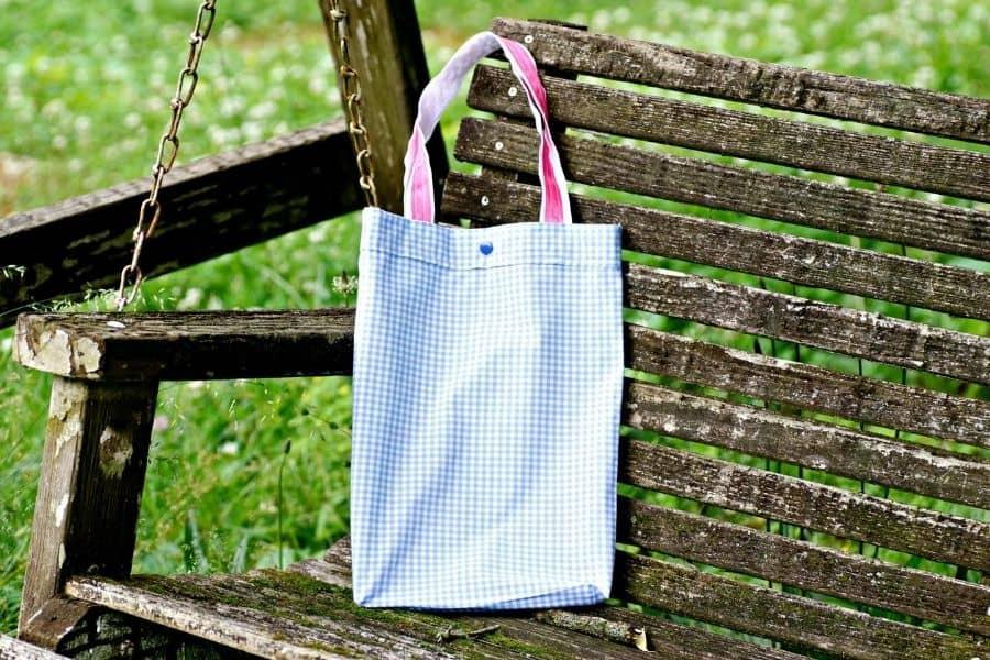 pillowcase bag on bench