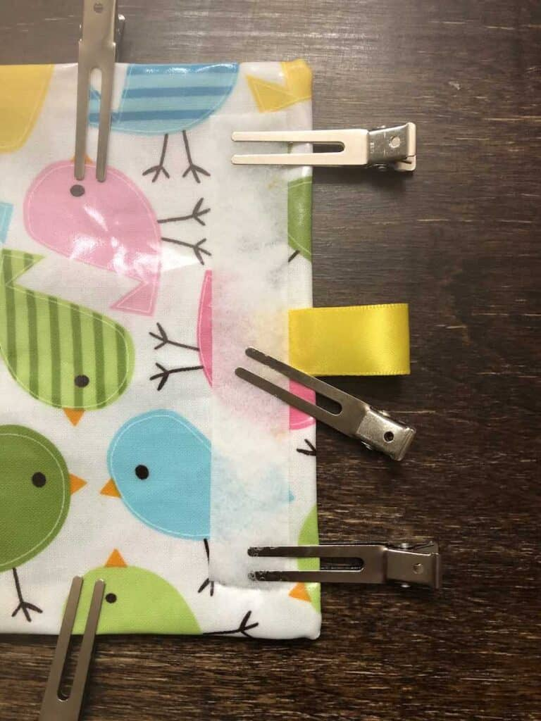 add ribbon to reusable snack bag