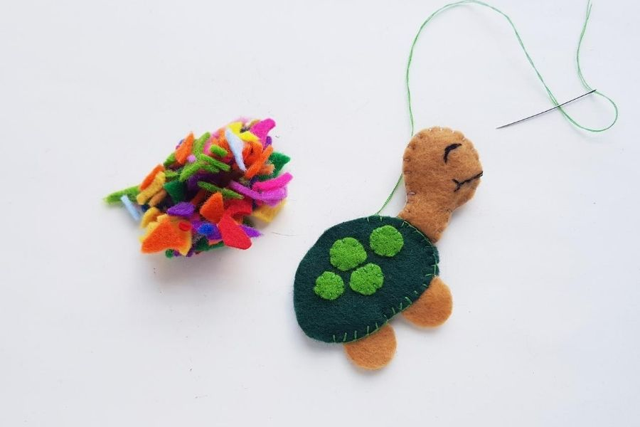adding stuffing to the turtle shell