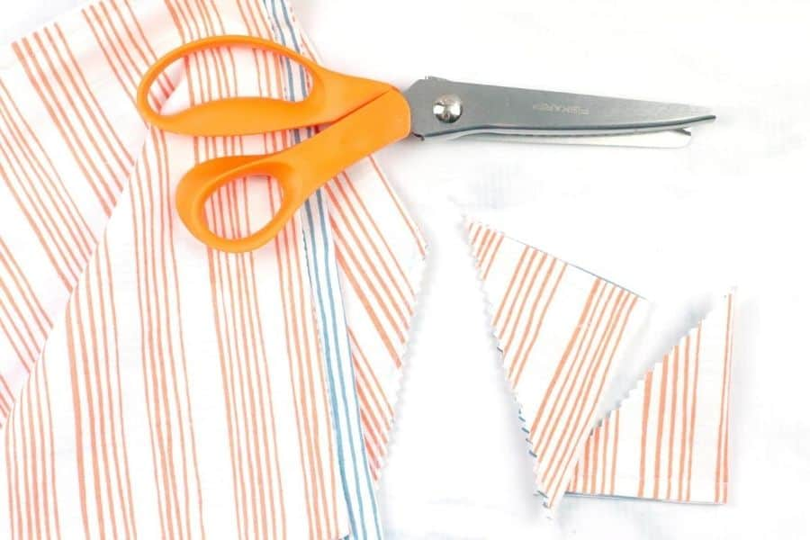 cutting off corners of Easy Sew DIY Origami Bag