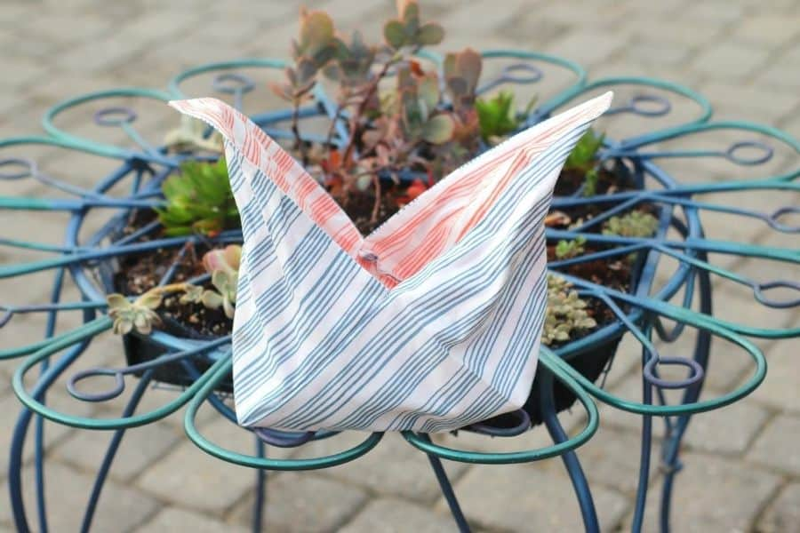 Easy Sew DIY Origami Bag on table