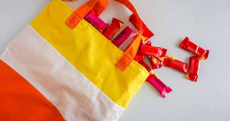 Easy Sew Halloween Candy Corn Tote