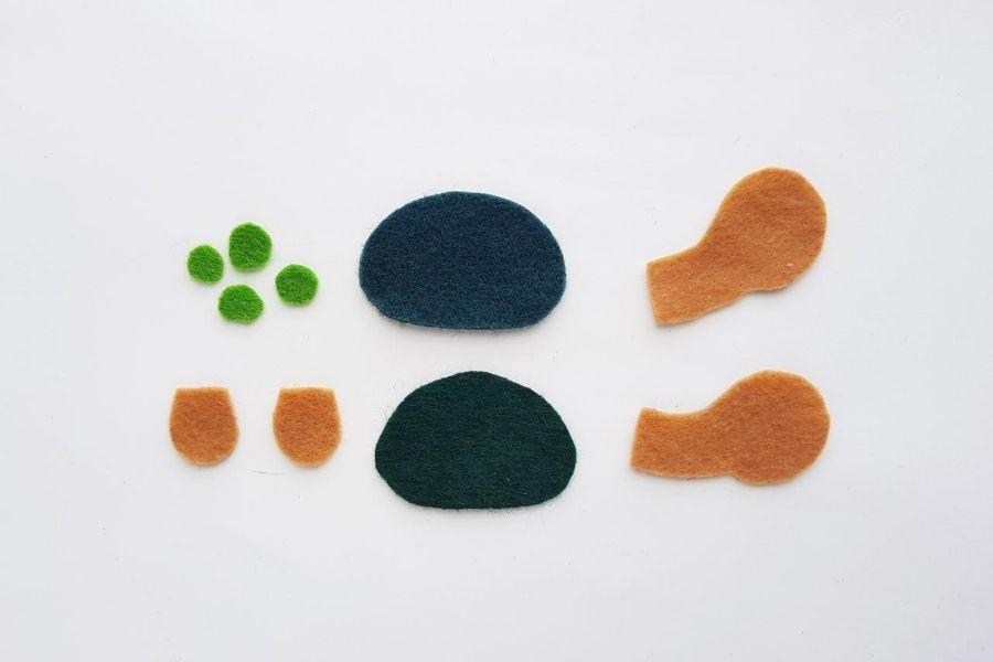felt pieces needed to make turtle
