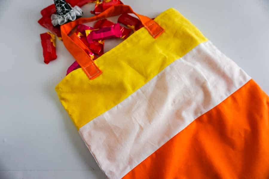 finished Halloween Candy Corn Tote