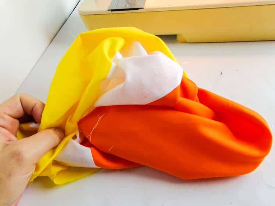 turn Halloween candy corn tote right side out