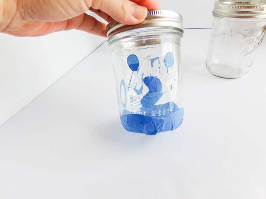 taping ghost mason jar