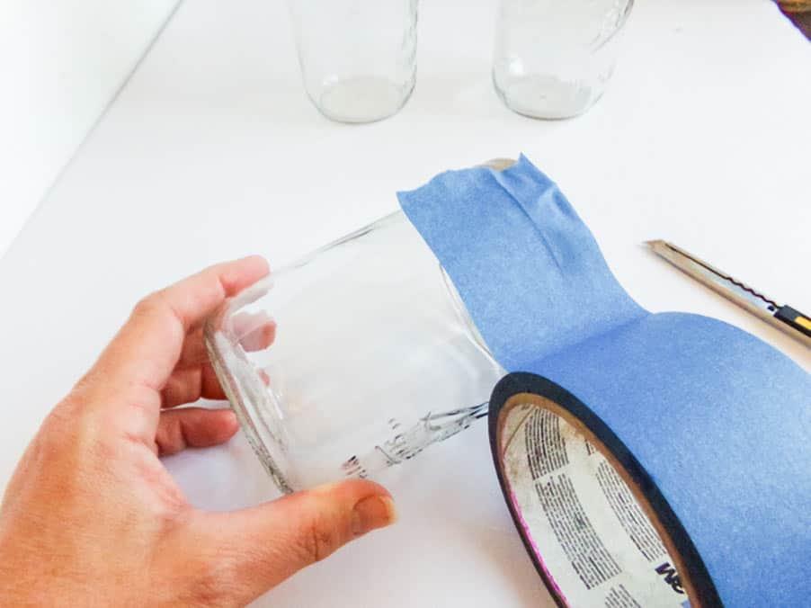 taping franekstein mason jar