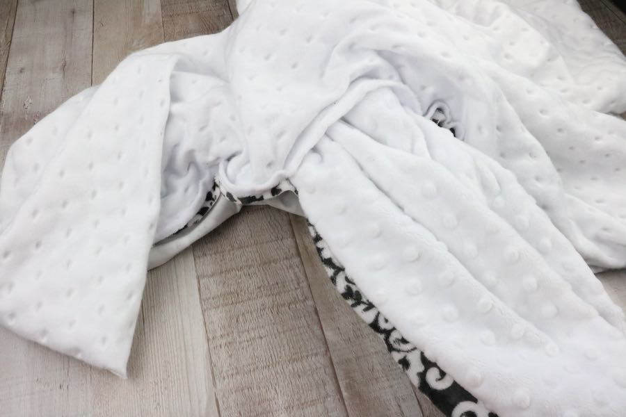 Turn the whole Minky Baby Blanket right-side-out