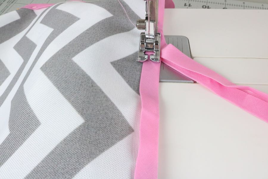 Sew the bias tape in place