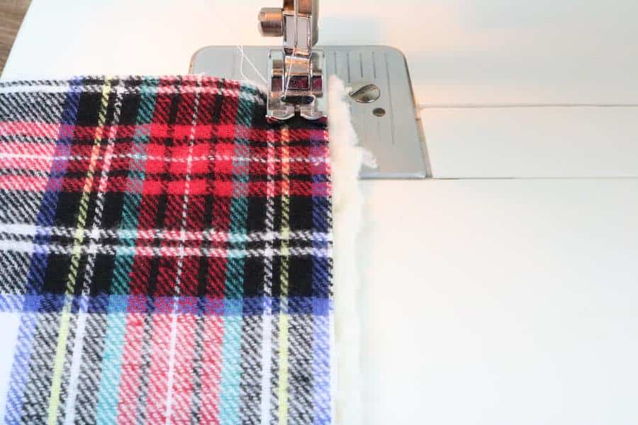 sew long sides of cowl scarf