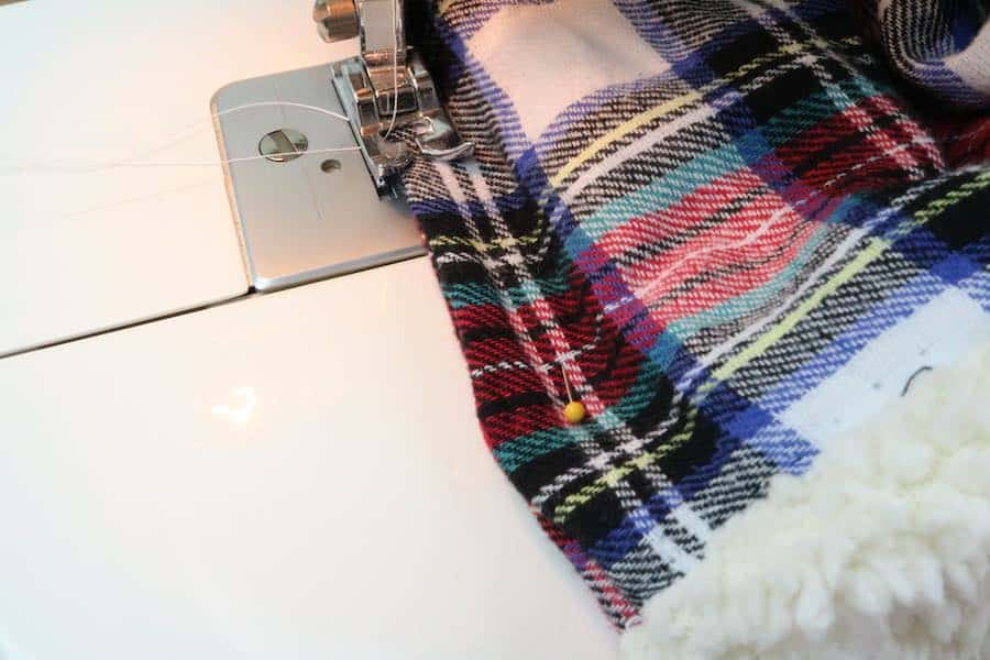 Sew opening closed on cowl scarf
