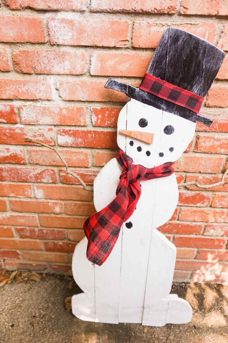 DIY Wood Snowman Completed