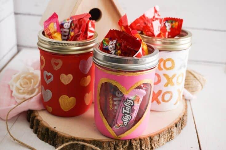 Easy DIY Valentine Mason Jars Completed
