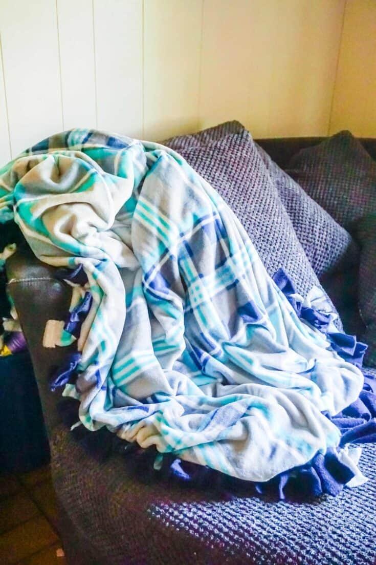No Sew Fleece Blanket Completed