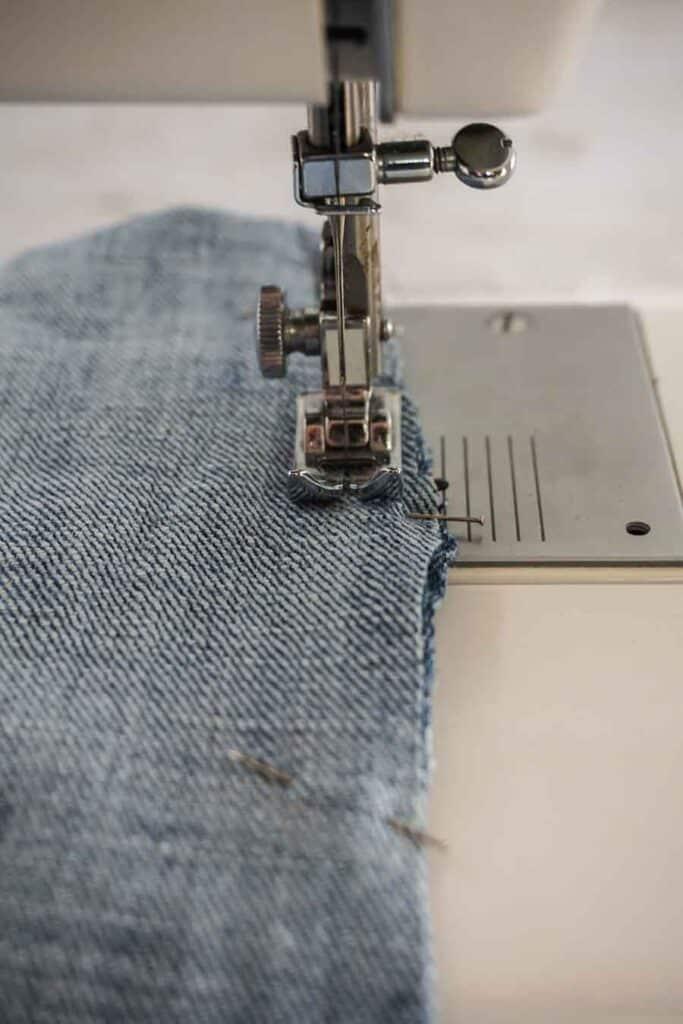 sew hems of blue jean tote bag