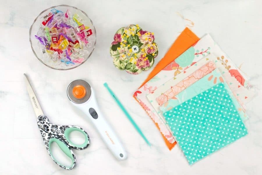 Supplies needed to make fabric bookmarks